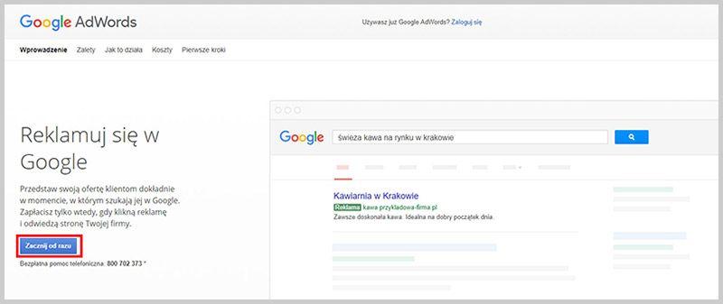 google adwords zarejestruj się