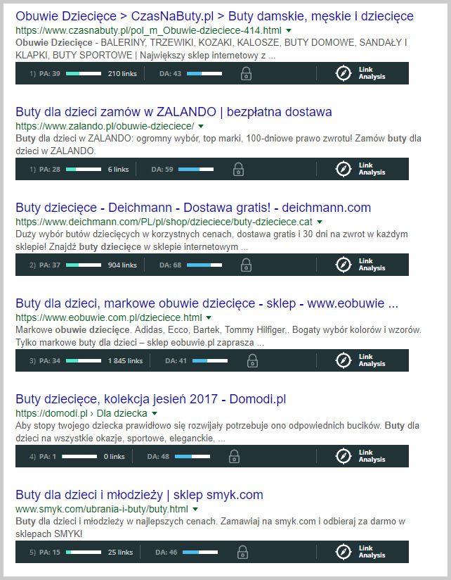 wyniki wyszukiwania google dla buty dziecięce