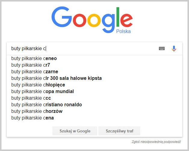 sugestie wyszukiwarki google buty piłkarskie + c