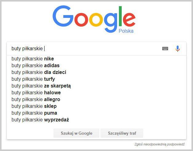 sugestie wyszukiwarki google buty piłkarskie
